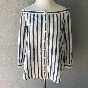 Derek Lam 10 Crosby Linen Striped Blouse